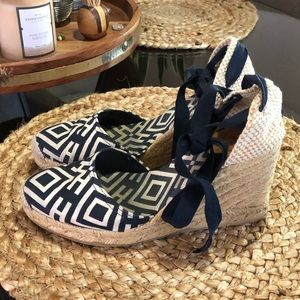 Black and White Tory Burch Wedges